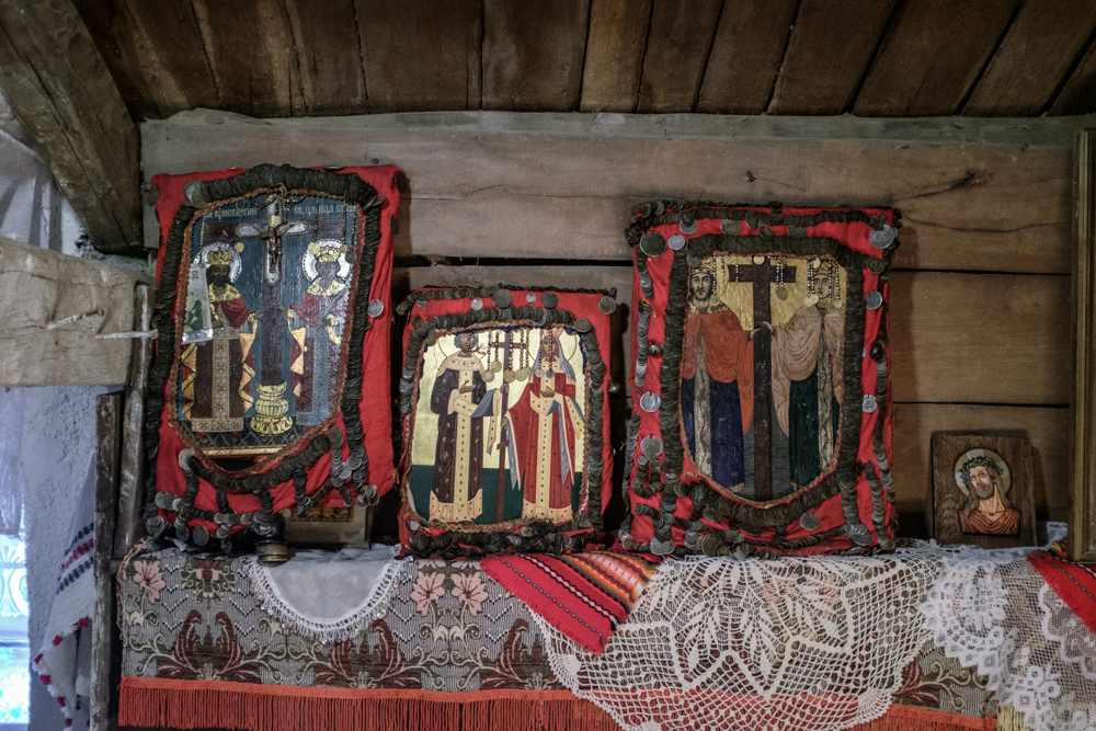 The icons of Ss Constantine and Elena that are kept at a special nestinari chapel at Balgari
