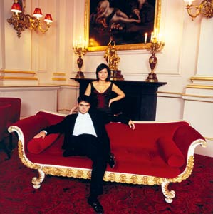 With partner, pianist Pamela Richardson, at the Royal Opera House in London, 2002