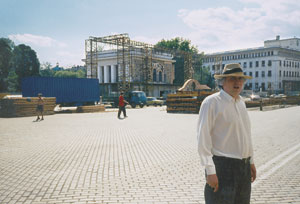 In front of the now demolished mausoleum of Communist 'Master' Georgi Dimitrov, Sofia, 1998, photo by Anthony Georgieff