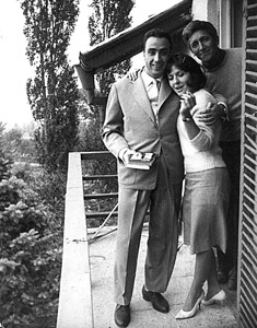 Georgi Markov with his first wife, Bulgarian Zdravka Lekova, and friend Nikola Rudarov, Dragalevtsi, 1964