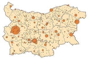 Bulgarian network of settlements, source: Operational Programme