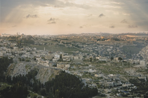 Sunset over Jerusalem as seen from Mount Zion