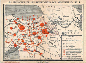 A French map shows areas of Ottoman perpetrated ethnic cleansing of Armenians