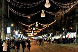 Christmas lights in central Sofia may seem subdued in Western standards but are really a novelty in Bulgaria