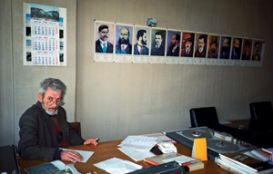 Under the freedom fighters' gaze: Hard at work at the Macedonian National Radio in Skopje