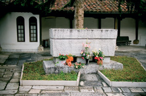 The grave of Gotse Delchev, considered by both Bulgarians and Macedonians to be their national hero, in the St Spas Church in Skopje