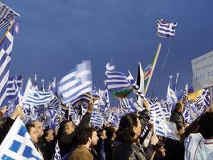 "Thousands of Greeks protest against the former Yugoslav republic ""usurping"" the name of the northern Greek province, in Thessaloniki in 2008"