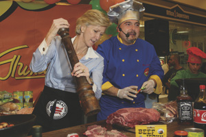 Nancy McEldowney promotes American cuisine with chef Uti, 2008