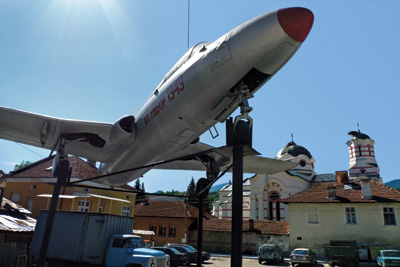 A Soviet fighter plane donated to the town by men born in 1949