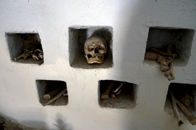 Skull and bones of Bulgarians killed in the Chiprovtsi Uprising of 1688 in the charnel tower of the monastery