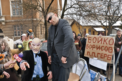 A troupe mocking Prime Minister Boyko Borisov and his usual entourage
