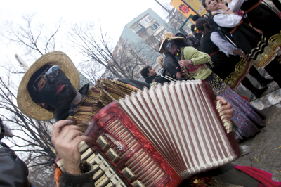 Kukeri of the 21st Century are not scared of innovations, like bringing accordion music to the party