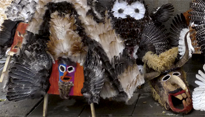 Mummers' masks are intentionally scary - in order to chase the evil spirits away