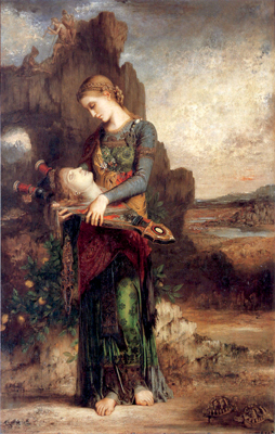 Thracian Girl Carrying the Head of Orpheus on His Lyre, 1865, by Gustave Moreau