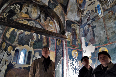 The number of people inside the church and their stay are limited due to conservation issues. Two layers of medieval frescoes are preserved – from the 10th and the 13th centuries