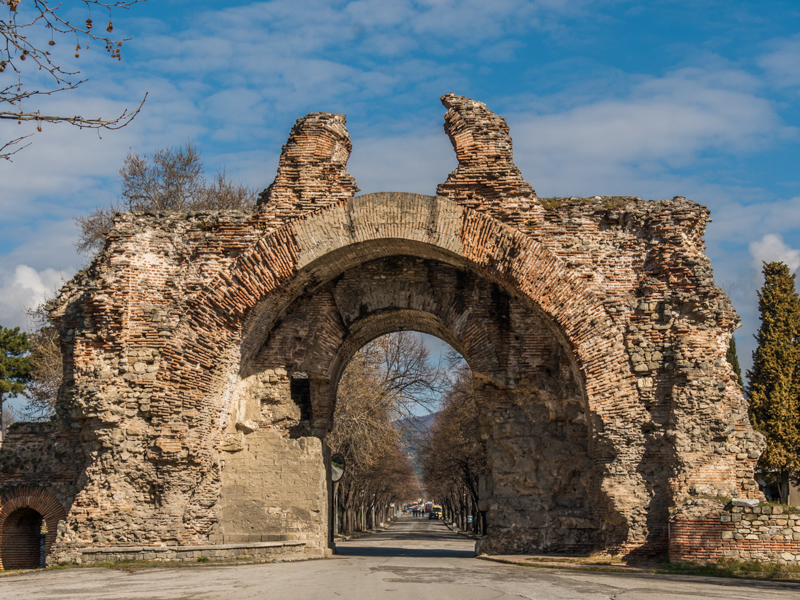 The most prominent gate of ancient Diocletianopolis, now spa town of Hisarya, is called The Camels