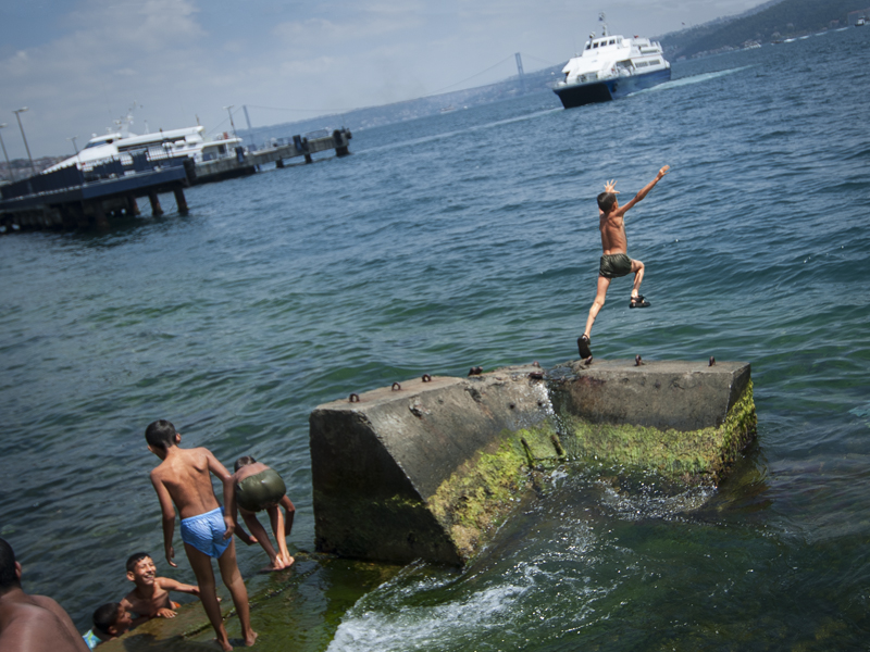 Swimming in the waters of Kabataş, one of the busiest ferry stops on the Bosporus