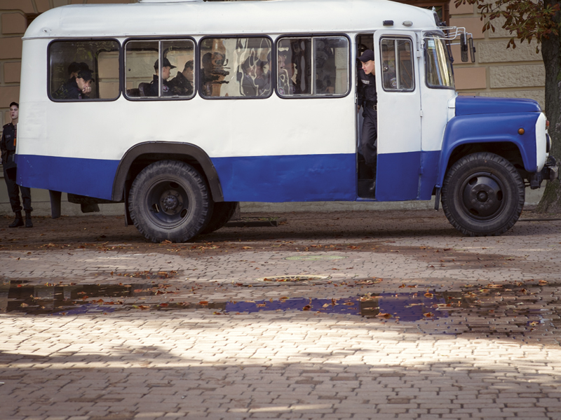 Soviet bus still in use by local security forces