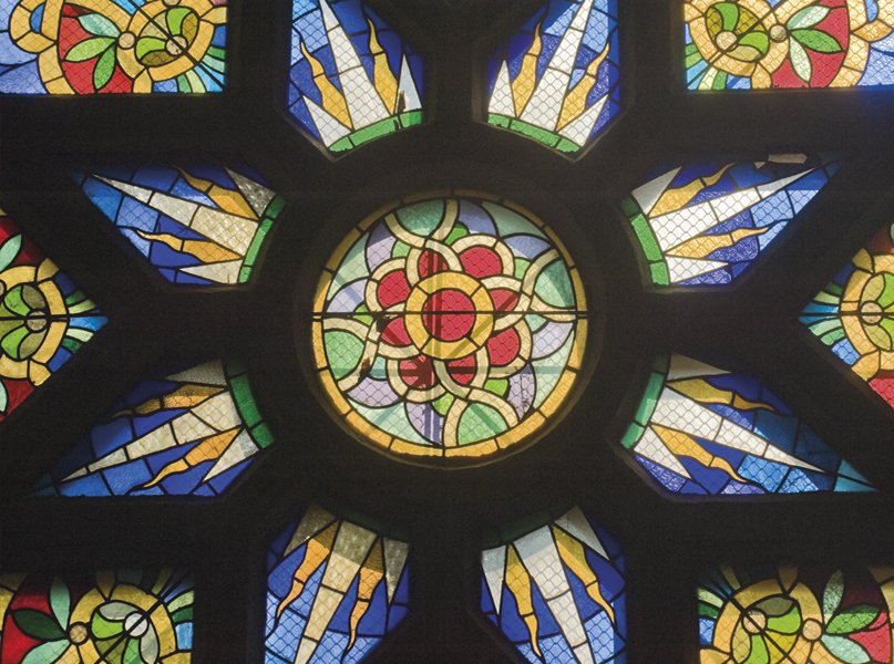 Stained glass window in the synagogue. Less than 200 Jews live in Novi Sad today