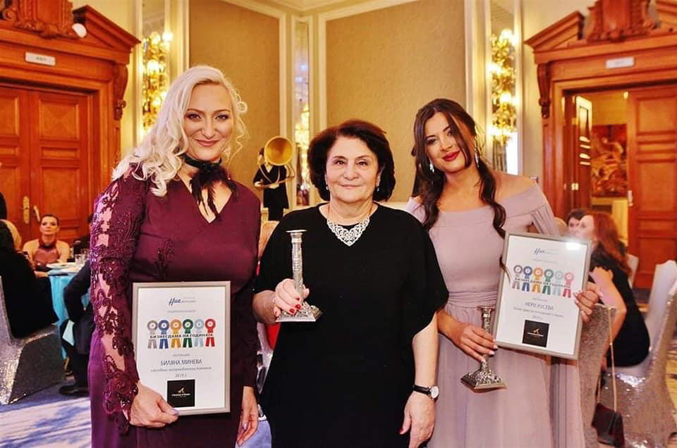 Violina Marinova, CEO of DSK Bank, presents Bilyana Mineva and Neri Ruseva from Prima Car with Business Lady of the Year award in 2019
