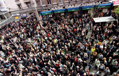 An angry crowd rallies in Central Sofia in March 2001 following the Constitutional Court's decision not to allow Simeon II to stand for president